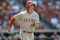 Texas Longhorns first baseman Kacy Clemens (42) runs to first base during the NCAA baseball game against the Houston Cougars on June 6, 2014 at UFCU Disch–Falk Field in Austin, Texas. The Longhorns defeated the Cougars 4-2 in Game 1 of the NCAA Super Regional. (Andrew Woolley/Four Seam Images)