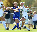 BROOKINGS, SD - SEPTEMBER 20: Annie Williams #23 from South Dakota State gets a shot on goal past Natalie Johnson #28 from North Dakota in the second half of their match Sunday afternoon in Brookings. (Photo by Dave Eggen/Inertia)