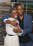 Cynthia Erivo and Leslie Odom Jr backstage after Nicolette Robinson makes her Broadway debut in 'Waitress' on September 4, 2081 at the Brooks Atkinson Theatre in New York City.