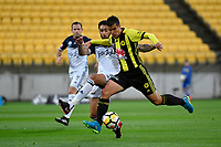 Wellington Phoenix&rsquo; Andrija Kaluderovic and Melbourne Victory&rsquo;s Rhys Willams in action during the A League - Wellington Phoenix v Melbourne Victory FC at Westpac Stadium, Wellington, New Zealand on Wednesday 10 January 2018. <br /> Photo by Masanori Udagawa. <br /> www.photowellington.photoshelter.com