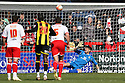 Chris Day of Stevenage watches Clayton Donaldson of Brentford's penalty hits the bar. - Stevenage v Brentford - npower League 1 - Lamex Stadium, Stevenage - 21st April, 2012. © Kevin Coleman 2012