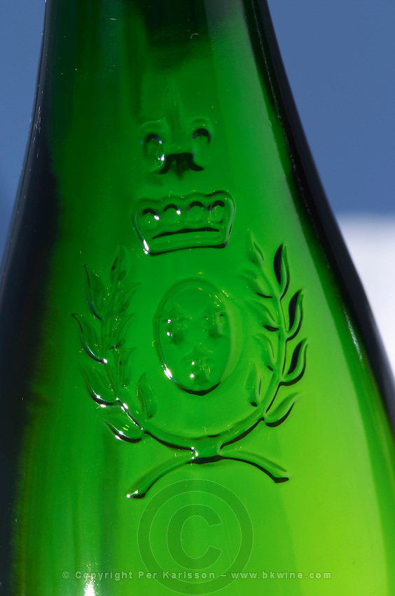 Detail of moulded relief on bottle of Anjou or Savennieres. Loire, France