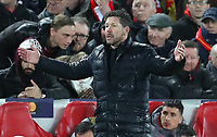 11th March 2020; Anfield, Liverpool, Merseyside, England; UEFA Champions League, Liverpool versus Atletico Madrid;  Atletico Madrid manager Diego Simeone reacts on the touchline