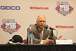 LAS VEGAS, NV - MARCH 8:  Randy Bennett at a press conference after Saint Mary's 81-62 win over the Gonzaga Bulldogs in the championship game of the 2010 Zappos West Coast Conference Basketball Championships on March 8, 2010 at Orleans Arena in Las Vegas Nevada.