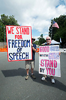 Fairfax,VA August 4 2018, USA: Pro gun supporters attend the NRA protest in Va. Demonstrators on both sides of the gun control issue rally at the National headquarters of the National Rifle Association (NRA) in Fairfax, VA.  Dubbed  &quot;The March on the NRA&quot; protestors line the streets in fron the of headquarters.  DC.  <br /> CAP/MPI/PYL<br /> &copy;PYL/MPI/Capital Pictures
