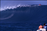Teahupoo, Tahiti. May 2000. A view from the lineup at Teahupoo during the a Gothca Pro 2000. Here a ten foot bomb goes by unridden during the competition.
