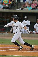 Charleston Riverdogs third baseman Dante Bichette Jr. #19 at bat during a game against the Delmarva Shorebirds at Joseph P. Riley Jr. Park on May 6, 2012 in Charleston, South Carolina. Charleston defeated Delmarva by the score of 8-2. (Robert Gurganus/Four Seam Images)