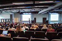 Old Main Academic Center - first day of classes.  Professor Jim Giesen introduces U.S. Modern History course: &quot;History is about interpreting America. It's not about facts.&quot;<br />