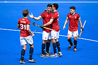 2nd February 2020; Sydney Olympic Park, Sydney, New South Wales, Australia; International FIH Field Hockey, Australia versus Great Britain; Luke Taylor of Great Britain is congratulated by teammates after scoring to make it 1-1