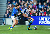 2nd February 2019, Murrayfield Stadium, Edinburgh, Scotland; Guinness Six Nations Rugby Championship, Scotland versus Italy; Josh Strauss of Scotland comes under pressure from Michele Campagnaro of Italy