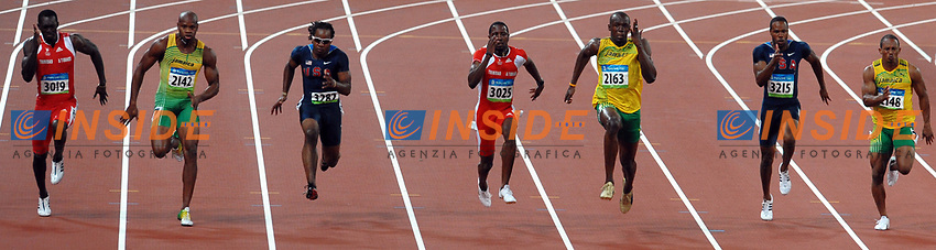 Usain Bolt of Jamaica (3rd R) during his winning race of Men's 100m.<br /> I finalisti dei 100m uomini Marc Burns, Asafa Powell, Walter Dix, Richard Thompson, Usain Bolt, Davis Patton, Michael Frater<br /> National Stadium - Bird Nest<br /> Pechino - Beijing 16/8/2008 Olimpiadi 2008 Olympic Games<br /> Foto Andrea Staccioli Insidefoto