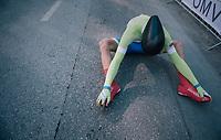 Bostjan Murn (SLO)<br /> <br /> post-race battlefield in the finish zone<br /> <br /> MEN JUNIOR INDIVIDUAL TIME TRIAL<br /> Hall-Wattens to Innsbruck: 27.8 km<br /> <br /> UCI 2018 Road World Championships<br /> Innsbruck - Tirol / Austria