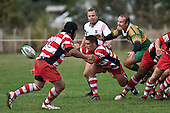 Pieter Serfontein fails to stop Chad Tuoro from clearing the ball from a scrum during the  Counties Manukau Premier Club Rugby game between Drury & Karaka played at the Drury Domain on Saturday April 26th, 2008..Karak won the game 30 -6 after leading 8 -3 at halftime.