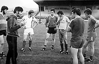 Mick O'Dwyer pictured with players from left, Bomber Liston, pat Spillane, Tommy Doyle, Ger Power, John Egan and Mickey Sheehy training for the five in a row game in 1981.<br />Picture by kevin Coleman 087-2579891