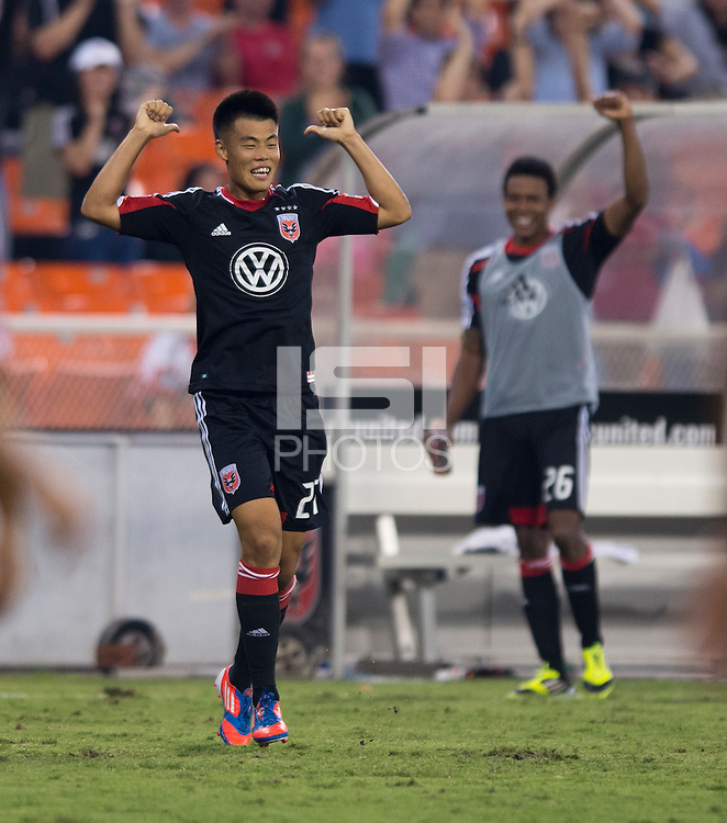 Long Tan (27) of D.C. United celebrates his goal at RFK Stadium in Washington, DC.  D.C. United defeated the Chicago Fire, 4-2.
