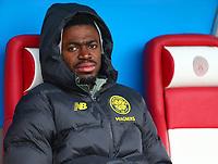 2nd February 2020; New Douglas Park, Hamilton, South Lanarkshire, Scotland; Scottish Premiership, Hamilton Academical versus Celtic; Ismaila Soro of Celtic sits on the bench before the match