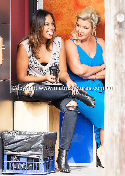 21 APRIL 2016 SYDNEY AUSTRALIA<br /> WWW.MATRIXPICTURES.COM.AU<br /> <br /> EXCLUSIVE PICTURES<br /> <br /> Jessica Mauboy pictured on set of The Secret Daughter at Newtowns Vanguard Hotel with other cast members.