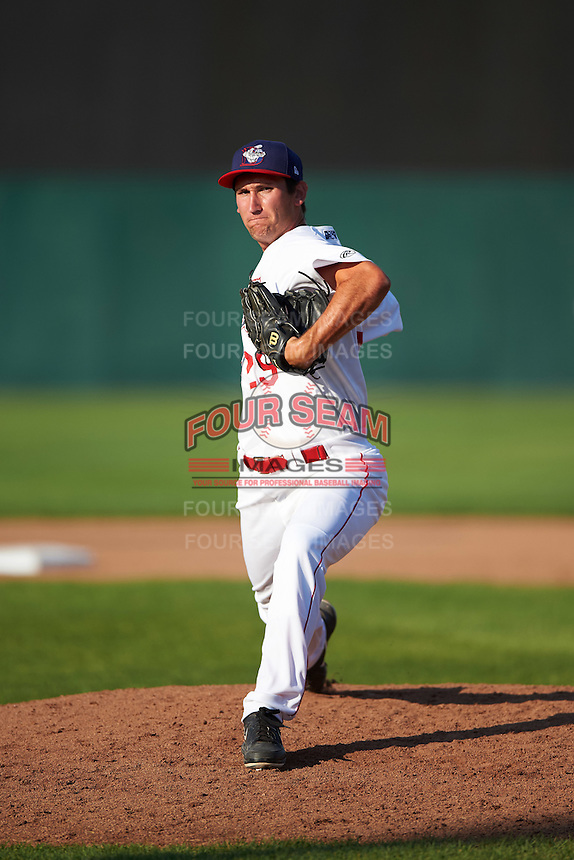 Auburn Doubledays relief pitcher Russell Harmening (29) delivers a pitch during a game against the Williamsport Crosscutters on June 26, 2016 at Falcon Park in Auburn, New York.  Auburn defeated Williamsport 3-1.  (Mike Janes/Four Seam Images)
