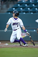 Nick Madrigal (4) of the Winston-Salem Dash follows through on his swing against the Myrtle Beach Pelicans at BB&T Ballpark on August 6, 2018 in Winston-Salem, North Carolina. The Dash defeated the Pelicans 6-3. (Brian Westerholt/Four Seam Images)