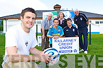 Glasgow Celtic star Diarmuid Carroll launches the Killarney Athletic 7-a-side tournament, which will be starting on 30th June, in Athletic's Woodlawn pitch Monday evening l-r: Don O'Donoghue, Gary Moynihan, Karena McCarthy, Toirdealbhach O'Lionaird, Diarmuid Carroll and Donie Murphy    Copyright Kerry's Eye 2008