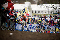 (barely) 20 yr old Mathieu Van der Poel (NLD) leads the Elite Men's race<br /> <br /> 2015 UCI World Championships Cyclocross <br /> Tabor, Czech Republic