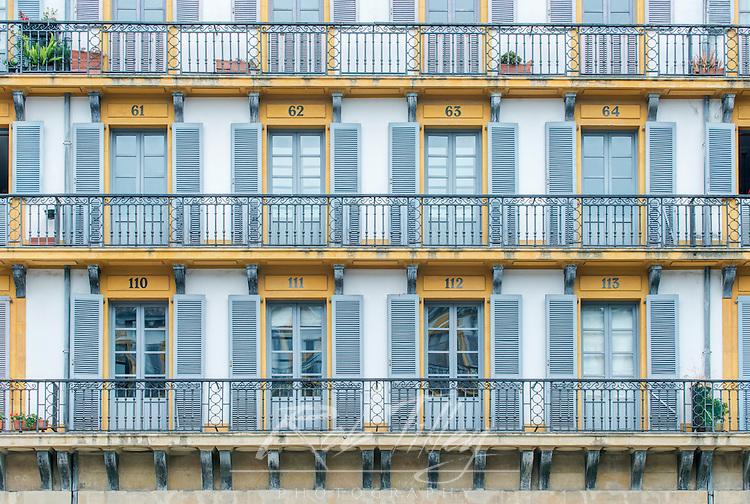 Spain, San Sebastian, Plaza de la Constitucion, Apartment Baconies which were box seats for bull fights
