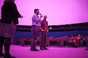 Donovan Zimmerman, center, and Jan Burger, of Paperhand Puppet Intervention, speak about their collaboration with UNC to create the film, The Longest Night, specifically for the domed screen of Morehead Planetarium on the campus of UNC Chapel Hill, N.C., Thursday, Nov. 1, 2012.