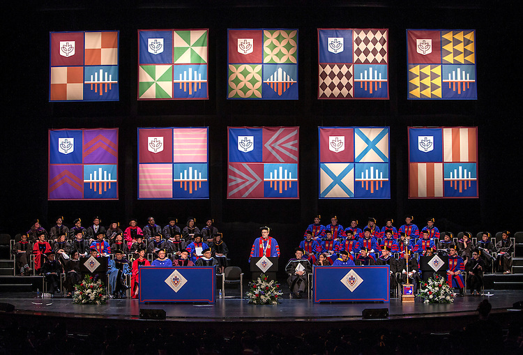 The Rev. Dennis H. Holtschneider, C.M., president of DePaul, offers closing remarks as the DePaul University College of Law held its commencement ceremony on May 17, 2015 at the Rosemont Theatre in Rosemont, IL, where some 280 students received their Juris Doctors or Master of Laws degrees. M. Cherif Bassiouni, DePaul emeritus professor of law, addressed the graduating class and received an honorary degree. (DePaul University/Jeff Carrion)