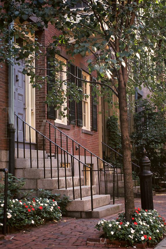 Beacon Hill; Brownstone Doorways; Boston, M
