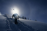 A skier hikes up a bootpack trail in the Grand Targhee backcountry, Alta, Wyoming.