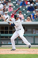 Chris Marrero (14) of the Charlotte Knights at bat against the Gwinnett Braves at BB&T BallPark on July 3, 2015 in Charlotte, North Carolina.  The Braves defeated the Knights 11-4 in game one of a day-night double header.  (Brian Westerholt/Four Seam Images)