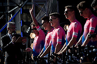 Rigoberto Uran (COL/EF EducationFirst) greeting the crowd during the Official 106th Tour de France 2019 Teams Presentation at the Central Square (Grote Markt) in Brussels (Belgium)<br /> <br /> ©kramon