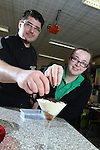 Careers Wales.Chef Massimo Bishop-Scotti with Sophie John at Mountain Ash Comprehensive School during a cookery demonstration...07.03.12.©STEVE POPE