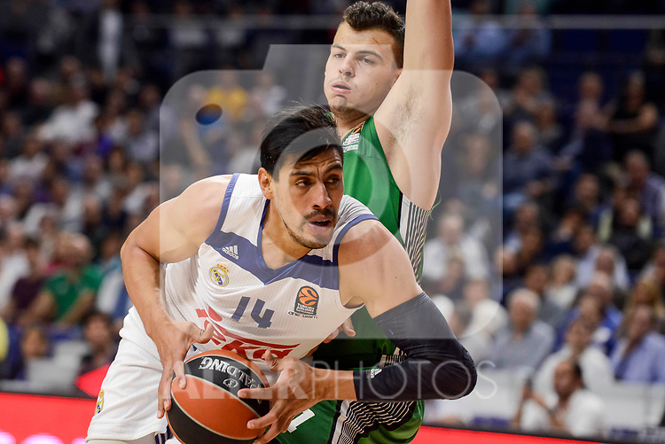 Real Madrid's Gustavo Ayon during quarter final of Turkish Airlines Euroleague match between Real Madrid and Darussafaka Dogus at Wizink Center in Madrid, April 20, 2017. Spain.<br /> (ALTERPHOTOS/BorjaB.Hojas)