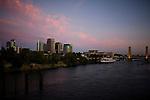 The Sacramento skyline and the Sacramento River in Sacramento, California.