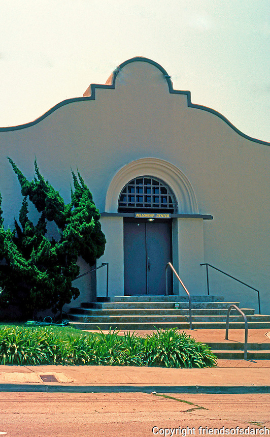 "Irving Gill: St. James Chapel, La Jolla 1907-08. Described as ""nearly intact"" but isn't. Now a part of La Jolla First Baptist. (Photo 2000)"