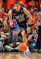 Feb. 16, 2011; Charlottesville, VA, USA;  Duke Blue Devils guard Seth Curry (30) handles the ball during the second half of the game against the Virginia Cavaliers at the John Paul Jones Arena. The Duke Blue Devils won 56-41. Credit Image: © Andrew Shurtleff