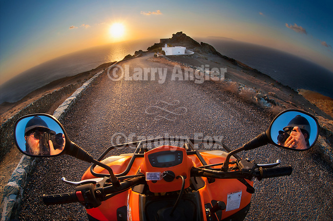 Sunset at the end of the road from the moto, Cape Kyparissi, Folegandros, Cyclades, Greece