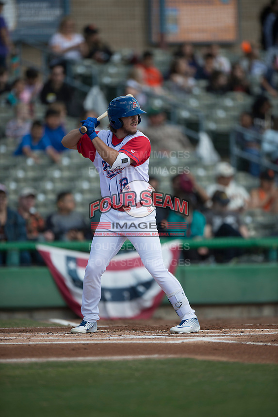 Stockton Ports right fielder Austin Beck (12) during a California League game against the San Jose Giants on April 9, 2019 in Stockton, California. San Jose defeated Stockton 4-3. (Zachary Lucy/Four Seam Images)