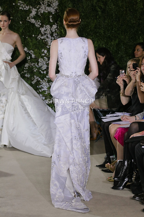 Model walks runway in a Chantal wedding dresses by Carolina Herrera, for the Carolina Herrera Bridal Spring 2012 runway show.