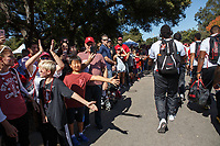 Stanford, CA - September 8, 2018: &quot;The Walk&quot; before the start of the the Stanford vs USC football game Saturday night at Stanford Stadium.<br /> <br /> Score was USC3, Stanford 17.
