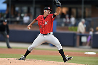 Kannapolis Intimidators starting pitcher Dane Dunning (33) delivers a pitch during a game against the Asheville Tourists at McCormick Field on April 18, 2017 in Asheville, North Carolina. The Intimidators defeated the Tourists 6-1. (Tony Farlow/Four Seam Images)