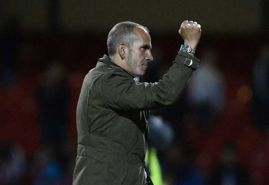 Swindon Town's Manager Paolo Di Canio celebrates beating Burnley 3 - 1 ..Football - Capital One Cup Third Round - Swindon Town v Burnley - Tuesday 25th September 2012 - The County Ground - Swindon. .