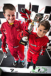 © Joel Goodman - 07973 332324 . 4 August 2013 . Daytona Manchester, Unit 4 Circle South, Wharfside Way, Trafford Park, Manchester M17 1NF , UK . L-R brothers Gabe Burrows (12) and Michael Burrows (nine) from Stretford (correct - NB Gabe just recently turned nine - it says eight on the brief) have won numerous go-karting trophies . Photo credit : Joel Goodman