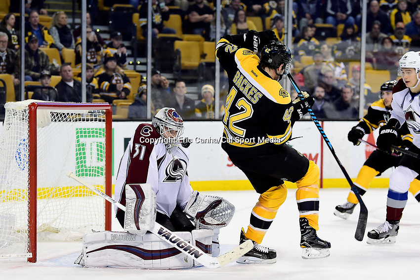 Thursday, December 8, 2016: Colorado Avalanche goalie Calvin Pickard (31) makes a save during the National Hockey League game between the Colorado Avalanche and the Boston Bruins held at TD Garden, in Boston, Mass. The Avalanche defeat the Bruins 4-2 in regulation time. Eric Canha/CSM