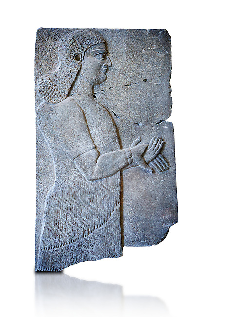 Stone relief sculptured panel of a Royal servant. From the palace of Teglat-phalasar II, Nimrud, third quarter of the 8th century BC. inv 19852  Louvre Museum , Paris