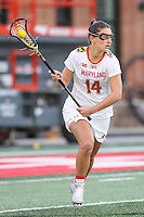 College Park, MD - February 25, 2017: Maryland Terrapins Nadine Hadnagy (14) looks to pass the ball during game between North Carolina and Maryland at  Capital One Field at Maryland Stadium in College Park, MD.  (Photo by Elliott Brown/Media Images International)