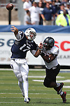 Nevada's Cody Fajardo (17) throws under pressure from Southern Utah's Chinedu Ahanonu (35) during the second half of an NCAA college football game on Saturday, Aug. 30, 2014, in Reno, Nev. (AP Photo/Cathleen Allison)