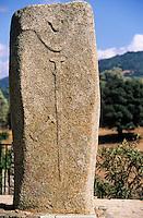France/Corse/Corse-du-Sud/2A/Filitosa: Site préhistorique - Détail d'une statue menhir