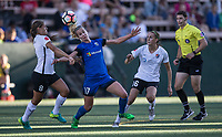 Seattle, WA - Saturday July 22, 2017: Erica Skroski, Beverly Yanez, Sarah Killion during a regular season National Women's Soccer League (NWSL) match between the Seattle Reign FC and Sky Blue FC at Memorial Stadium.